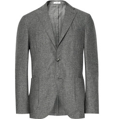 Boglioli Grey K-Jacket Slim-Fit Slub Silk and Linen-Blend Blazer