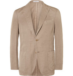 Boglioli Brown Slub Cotton and Linen-Blend Suit Jacket