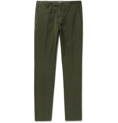 Boglioli Green Slim-Fit Stretch Cotton-Blend Suit Trousers
