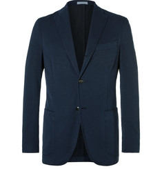 Boglioli Blue K-Jacket Slim-Fit Herringbone Stretch Cotton-Blend Suit Jacket