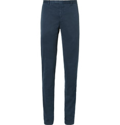 Boglioli - Blue Slim-Fit Herringbone Stretch Cotton-Blend Suit Trousers