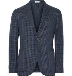 Boglioli Blue K-Jacket Slim-Fit Houndstooth Cotton and Silk-Blend Blazer