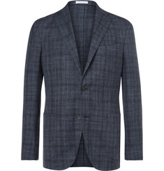 Boglioli Blue K-Jacket Slim-Fit Prince of Wales Check Wool, Silk and Linen-Blend Blazer