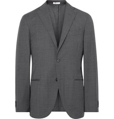 Boglioli Grey K-Jacket Slim-Fit Checked Virgin Wool Suit Jacket