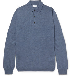 Boglioli Knitted Mélange Virgin Wool Polo Shirt