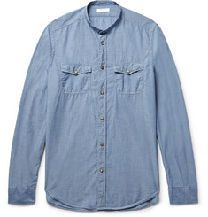 Boglioli - Slim-Fit Grandad-Collar Cotton-Chambray Shirt