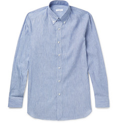 Boglioli Slim-Fit Button-Down Collar Striped Linen and Cotton-Blend Shirt