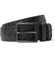 Bottega Veneta 3.5cm Black Intrecciato Leather Belt