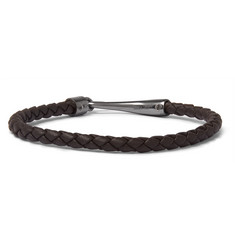 Bottega Veneta Intrecciato Leather and Oxidised Silver Bracelet