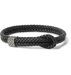 Bottega Veneta Intrecciato Braided Leather and Oxidised Silver Bracelet