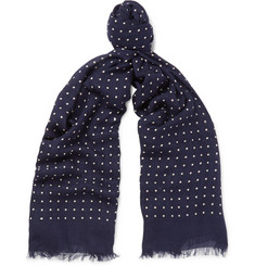 Kingsman + Drake's Polka-Dot Modal and Cashmere-Blend Scarf
