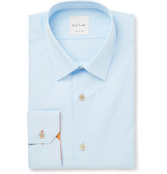 Paul Smith Blue Slim-Fit Cotton-Poplin Shirt