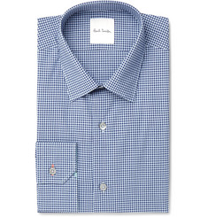 Paul Smith Blue Slim-Fit Gingham Cotton-Poplin Shirt