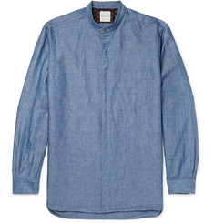Paul Smith Grandad-Collar Cotton and Linen-Blend Chambray Shirt