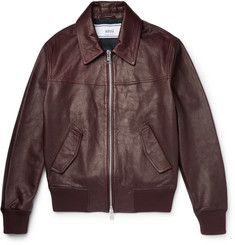 AMI Grained-Leather Bomber Jacket