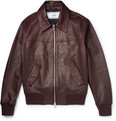 AMI - Grained-Leather Bomber Jacket