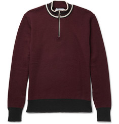 AMI - Stripe-Trimmed Wool Half-Zip Sweater
