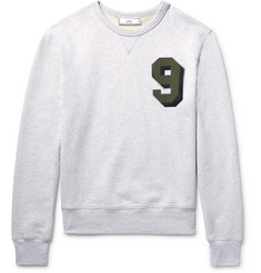 AMI Embroidered Loopback Cotton-Jersey Sweatshirt