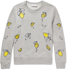 AMI - Lemon-Embroidered Loopback Cotton-Jersey Sweatshirt