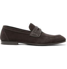 Bottega Veneta Intrecciato Leather-Trimmed Suede Penny Loafers