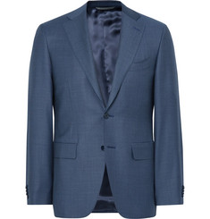 Canali Blue Slim-Fit Water-Resistant Birdseye Wool Suit Jacket