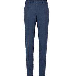 Canali Blue Slim-Fit Super 140s Wool, Silk and Linen-Blend Trousers