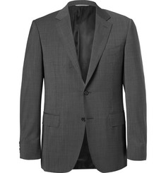 Canali Grey Wool-Sharkskin Suit Jacket