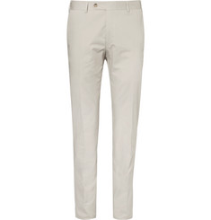 Canali Beige Kei Slim-Fit Stretch-Cotton Twill Suit Trousers