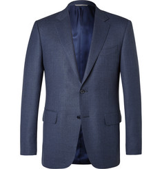 Canali Blue Slim-Fit Slub Wool Travel Blazer
