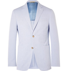 Canali Blue Kei Slim-Fit Striped Cotton-Seersucker Blazer