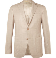 Canali Beige Kei Wool, Silk and Linen-Blend Blazer