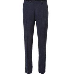 Canali - Navy Slim-Fit Checked Wool, Silk and Linen-Blend Trousers