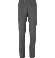 Canali - Grey Slim-Fit Water-Resistant Checked Super 140s Wool Trousers