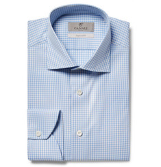 Canali - Blue Slim-Fit Cutaway-Collar Gingham Cotton-Poplin Shirt