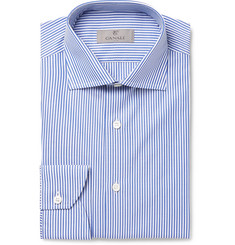 Canali Blue Slim-Fit Bengal-Striped Cotton-Poplin Shirt