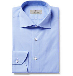 Canali Blue Slim-Fit Cutaway-Collar Checked Cotton-Poplin Shirt