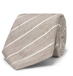 Canali 8cm Striped Slub Linen and Silk-Blend Tie