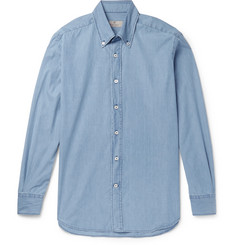 Canali Slim-Fit Button-Down Collar Denim Shirt