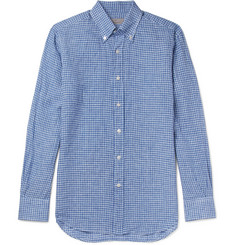 Canali Button-Down Collar Gingham Linen Shirt