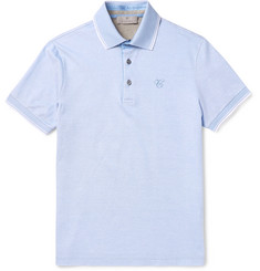 Canali - Slim-Fit Contrast-Tipped Cotton-Piqué Polo Shirt