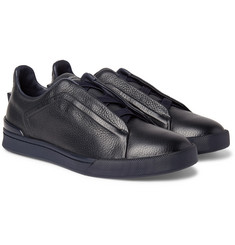 Ermenegildo Zegna - Triple Stitch Full-Grain Leather Slip-On Sneakers
