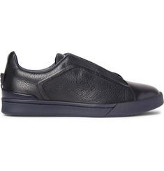 Ermenegildo Zegna Triple Stitch Full-Grain Leather Slip-On Sneakers