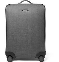 Ermenegildo Zegna Leather-Trimmed Herringbone Coated-Canvas Trolley Case