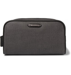 Ermenegildo Zegna Leather-Trimmed Herringbone Coated-Canvas Wash Bag