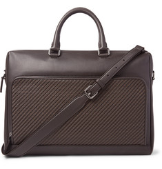 Ermenegildo Zegna Pelle Tessuta Leather Briefcase