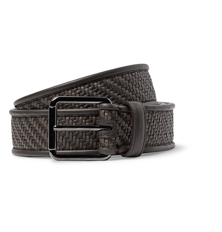 Ermenegildo Zegna Brown Pelle Tessuta Leather Belt