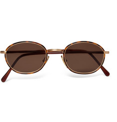 Cutler and Gross 1995 Ltd Vintage Round-Frame Acetate and Gold-Tone Sunglasses