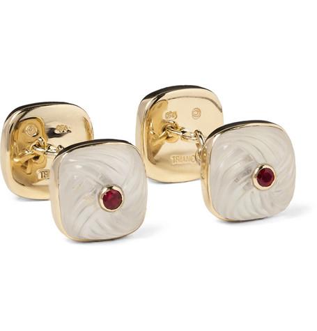 trianon male trianon 18karat gold multistone cufflinks gold