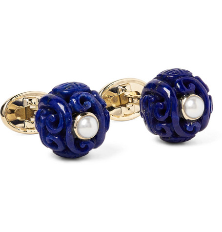 trianon male trianon canton 18karat gold lapis and pearl cufflinks royal blue