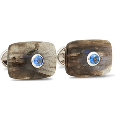 Trianon 18-Karat White Gold, Labradorite and Sapphire Cufflinks